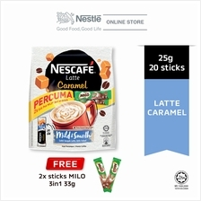 NESCAFE Latte Caramel 20 Sticks 25g Each Free 2 Milo 33g