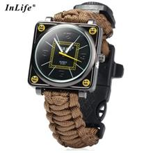 INLIFE OUTDOOR SUVIVAL PARACORD WATCH WITH FIRE STARTER COMPASS WHISTLE RESCUE