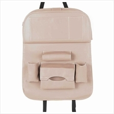 Car Backseat Organizer PU Leather Auto Back Seat Cushion for Kids Beige (Beige