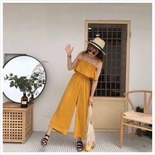 Women Casual Spaghetti Strap Ruffled Top Wide Leg Pants Jumpsuit