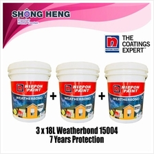 Bulk 3 x Nippon Paint Weatherbond 15004 7 Years Protection 18L - WHITE