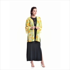 Jazz & Co Women Standard Size Yellow Floral Wide Sleeve Long Cardigan