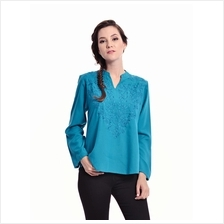 Jazz & Co Women Standard Size Long Sleeve Dk Teal Embroidered Top