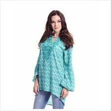 Jazz & Co Women Standard Size Long Sleeve Teal Embroidered Printed Tun..