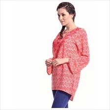 Jazz & Co Women Standard Size Long Sleeve Red Embroidered Printed Tuni..