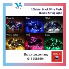 20Meter Black Wire With White Flash Bubble Star LED String Light Decor