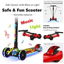 【READY STOCK MY】Kids 4 Wheels Scooter Foldable Music Light