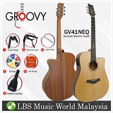 "Groovy GV41NEQ 41 "" Dreadnought Acoustic Electric Guitar with ALT-1"