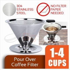 BIGSPOON 304 Stainless Steel Pro Reusable Pour Over Coffee Filter