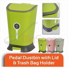 BIGSPOON Low Noise Pedal Dustbin with Lid and Garbage Bag Holder