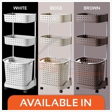 BIGSPOON Extra Large Capacity 3-Tier Laundry Basket with Wheels