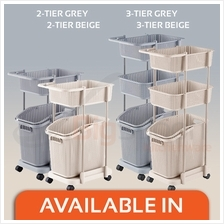BIGSPOON Large Capacity Space Saving 2/3-Tier Laundry Basket Wheels