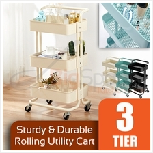 BIGSPOON Spacious Sturdy 3-Tier Utility Storage Kitchen Rolling Cart