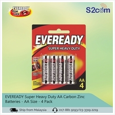 Eveready Super Heavy Duty AA Carbon Zinc Batteries AA Size 4Pack