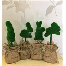 Artificial Plant Bonsai Bunny Plush Grasses Bag Fake Rabbit Decoration