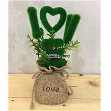 LOVE Plush Grasses Bag Fake Flower Green Bonsai Artificial Plant Bonsa
