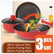 BIGSPOON 3-pcs Cookware Set Periuk Non Stick Frying Pan for Induction