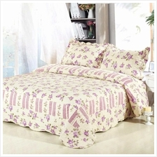 3Pcs Bedding Set Checked Flower Printed Pattern Polyester Fiber