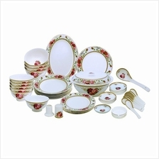46 PCS Romantic Roses Dinnerware Set