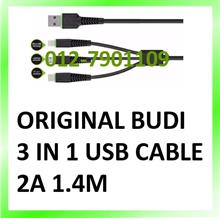 Original Budi 3 In 1 USB Cable (Lightning, Micro USB & Type C) 2A 1.4m
