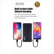 Alfa Powerbank 10000Mah 2.1A built in 3 In 1 fast Charging Cable