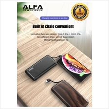 Alfa Powerbank  10000mAH 3 Output Built In Cable Fast Charging