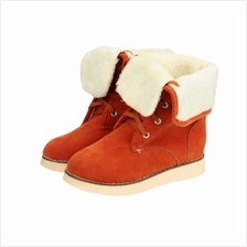 New Fashion Women Snow Boots Faux Suede Fur Tied Fastening Round Toe Fold Down