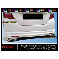 PU2641 Perodua Bezza PU Rear Skirt With Reflector & Chrome Cover + Pipe (
