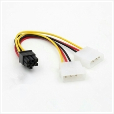 Hot Dual IDE Molex 4 pin Male to 6 pin Male Power Cable for PCI-E GPU