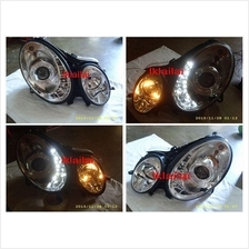SONAR BENZ W211 '03-06 / '06-09 Projector Head Lamp LED DRL R8 Chrome