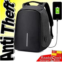 Anti Theft Backpack USB Charge Laptop Travel School Bag Beg Grey