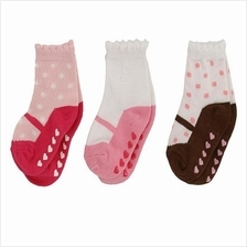 Luvable Friends Shoe Socks Non-skid 3pk 00416 Girl
