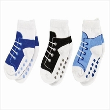 Luvable Friends Shoe Socks Non-skid 3pk 00499 Boy