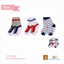 Luvable Friends Shoe Socks Non-skid 3pk 00496 Boy