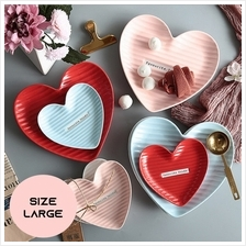 Nordic Creative Heart Shaped Snack Plate Ceramic Tableware - Large