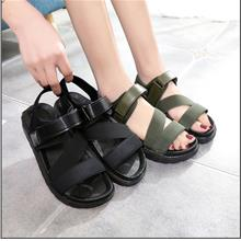 New Style Velcro Flat Sandals Female Students Open Toe Soft Bottom Sponge With