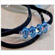 Triple Leather Cord Swarovski Crystal Bracelet Gelang