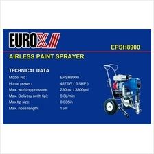 EUROX EPSH8900 Airless Paint Sprayer 4875w 230bar