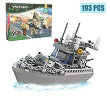 Army Toys Battleship Building Blocks Coast Guard Warship with Solid Hull and D
