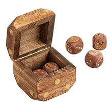 Wood Dice Shaped Dice Box |Comes with Handmade 5 Brass Inlay Dice | Wooden Dic