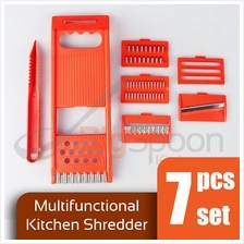 BIGSPOON 7-Pcs Set Multifunctional Kitchen Shredder Mandoline Slicer