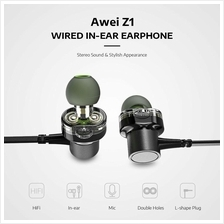 HOT Awei Z1 3.5mm Double Moving Earphone Heavy Bass Universal Wired