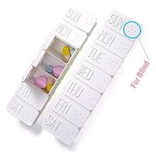 7-Day Braille Pill Box Drug Tablet Case for Blind