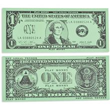 Learning Advantage One Dollar Play Bills - Set of 100 $1 Paper Bills - Designe