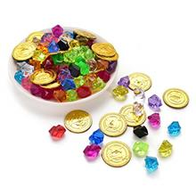 Hagao Pirate Toys Gold Coin  & Colorful Acrylic Diamond Crystals Gems Jewels P