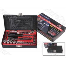 R'DEER 33-PIECES 1/4'DR SOCKET SET WITH METAL CASE (RTH-33)