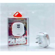 POPULAR Moxom KH-59 Metal Sparkling Charge 2.4A 2 USB PORT UK 3Pin Plu