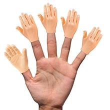 Daily Portable Tiny Hands (High Five) 10 Pack- Flat Hand Style Mini Hand Puppe