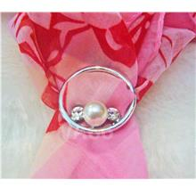 Rhinestone Scarf Ring Silver White Stones Round Pearl Buckle Tudung