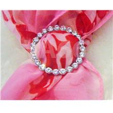 Rhinestone Scarf Ring Silver White Stones Round Buckle Scarves Tudung